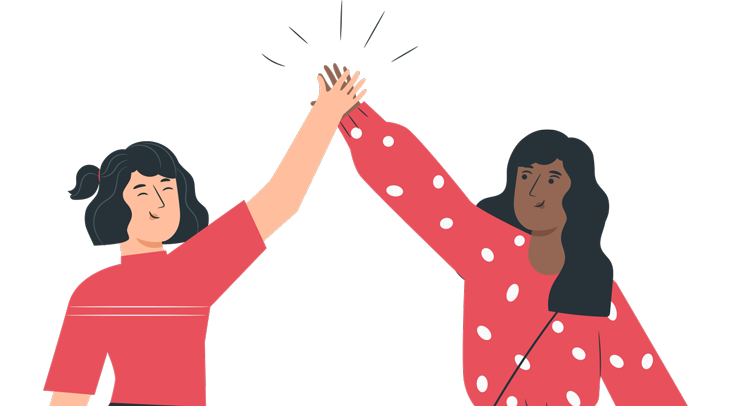 illustration of two women high-fiving
