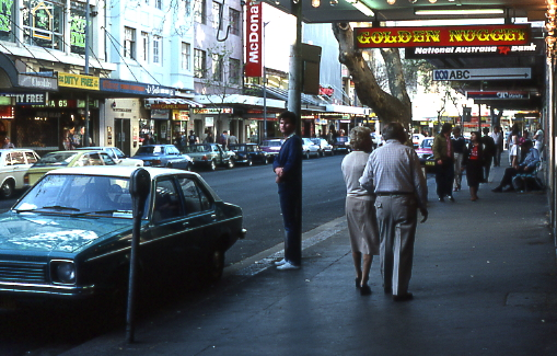 Street scene of King's Cross, Sydney, in the 1980s
