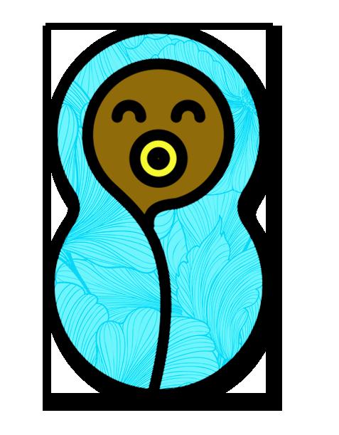 Cartoon image of swaddled newborn with dummy