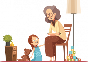 illustration of grandmother telling story to her granddaughter